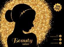 Black and Gold Fashion Woman with Hair Bun. Black and Gold Flyer Template, Fashion Woman with Hair Bun. Vector Illustration. Stylish Salon Banner. Girl Stock Images