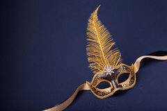 Black and gold feathered mask Stock Photos