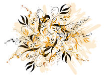 Black And Gold Floral. Abstract swirled floral design in black and gold; computer illustration Royalty Free Stock Photo