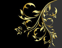 Black and gold floral background Royalty Free Stock Photography