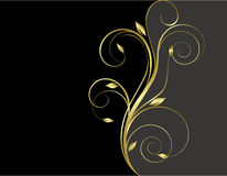 Black and gold floral background Royalty Free Stock Photos