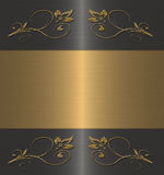 Black with gold floral frame Stock Image