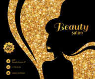 Black and Gold Flyer Fashion Woman Long Hair Royalty Free Stock Photo
