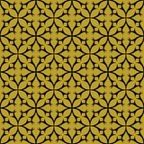 Black on gold geometric tile thorn circle seamless repeat pattern background. Two colour geometric tile thorn circle seamless repeat pattern background. Could be Stock Photography