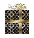 Black and Gold Birthday Gift with Gold Ribbon and Bow Royalty Free Stock Photos