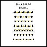 Black gold glitter classic brush. Set. Geometric elements. For r. Egistration cards, invitations, holiday events. Vector illustration Royalty Free Stock Photography