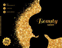 Black and Gold Glowing Fashion Woman. Black and Gold Glowing Flyer Template, Fashion Woman with Long Hair. Vector Illustration. Stylish Salon Banner. Girl Royalty Free Stock Photos