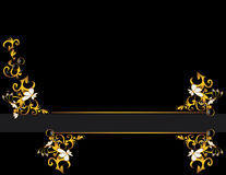 Black gold gray background design. Black background with a gold and cream abstract design on either side of a gray line royalty free illustration