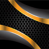 Black gold on gray circle mesh vector. Stock Images