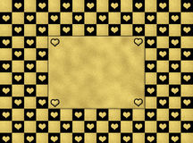 Black & gold hearts pattern seamless, texture background Royalty Free Stock Photography