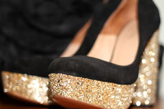 Black and gold high heels Stock Image