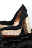 Black and gold high heels Stock Photo