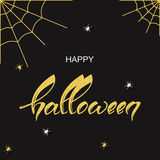 Black and gold holiday background with hand drawn words happy halloween. Vector black and gold holiday background with hand drawn words happy halloween Stock Photo