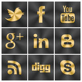Black and gold icons Social set. An illustrated set of 9 large social Black and gold icons set for web, facebook, twitter and other industries