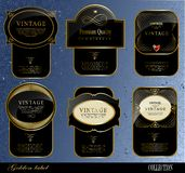 Black gold labels Royalty Free Stock Photos