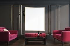 Black and gold living room, red armchairs. Black and gold living room interior with two red armchairs, a coffee table, a bench and a framed poster. 3d rendering Stock Image