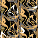 Black and gold marble floor seamless texture tile. Stock Photos