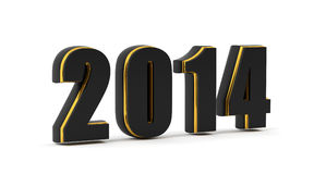 2014 year. 2014 on black and gold material isolated on white Stock Photography