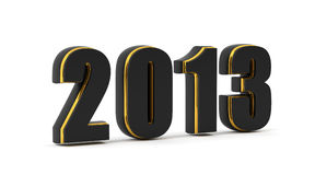 2013 Year. 2013 on black and gold material isolated on white Royalty Free Stock Photos