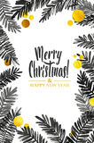 Black and Gold Merry Christmas Card. Golden Shiny Glitter and Watercolor Tree Branches. Calligraphy Greeting Poster. Isolated White Background. Glowing Royalty Free Stock Image