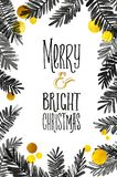Black and Gold Merry Christmas Card. Golden Shiny Glitter and Watercolor Tree Branches. Calligraphy Greeting Poster Tamplate. Isol. Ated White Background Royalty Free Stock Photography
