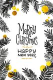 Black and Gold Merry Christmas Card. Golden Shiny Glitter and Watercolor Tree Branches. Calligraphy Greeting Poster Tamplate. Isol. Ated White Background Royalty Free Stock Image