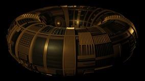 Black and Gold Metal Torus. Science fiction illustration of a black and gold etched metal torus, 3d digitally rendered illustration vector illustration