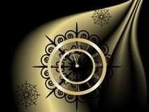Black and gold  New Year clock Royalty Free Stock Images