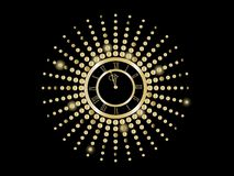 Black and gold  New Year clock Royalty Free Stock Photography
