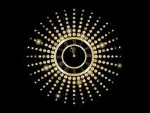 Black and gold New Year clock. Illustration vector illustration