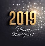 Black and gold New Year 2019 Greeting card royalty free illustration