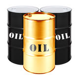 Black and Gold Oil Drums Isolated on White Background. Black Gold Stock Images