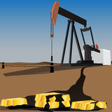 Black gold oil pump Royalty Free Stock Photography