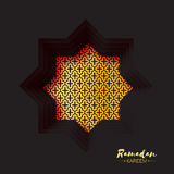 Black Gold Origami Mosque Star Window Ramadan Kareem Greeting card Royalty Free Stock Photography