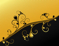 Black and gold ornamental background, vector Royalty Free Stock Photos