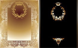 Black And Gold Ornate Banner. Stock Photos