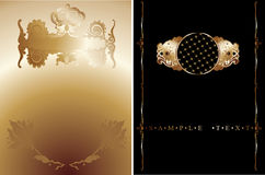 Black And Gold Ornate Banner. Royalty Free Stock Image