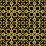 Black on gold ornate flower and circle tile art deco seamless repeat pattern background. Two colour ornate flower and circle tile art deco seamless repeat Stock Image