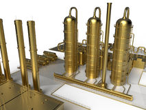 Black gold - petroleum factory concept. 3D render illustration of a golden petroleum factory. The image can be used to highlight the black gold resources that Stock Photo