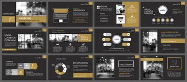 Black gold presentation templates and infographics elements background. Use for business annual report, flyer, corporate marketing. Leaflet, advertising stock illustration