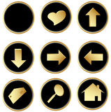 Black gold round web buttons Royalty Free Stock Photos