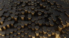 Black-gold abstract field hexagon. Black-gold shine abstract field Stock Images
