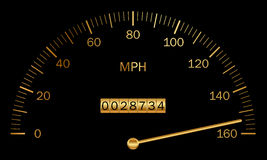Black and gold speedometer Stock Image