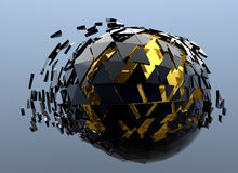 Black and Gold Sphere Shattered Abstract 3d. Isolated Stock Photo