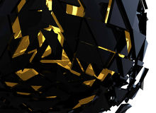 Black and Gold Sphere Shattered Abstract 3d isolated. On background Stock Images