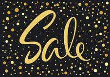 Black and gold spotted confetti sale banner backdrop Royalty Free Stock Photo