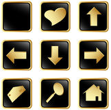 Black gold square web buttons Stock Photo
