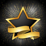 Black and gold star and banner background. Black and gold star background with banner Royalty Free Stock Image