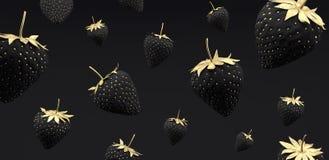 Black and gold Strawberry on black background 3d render. 3d illustration vector illustration
