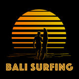 Black and gold stripes logo with surfer silhouette Stock Photos